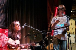 Palo Alto High School seniors Leah Bleich and Spencer Carlson perform at a previous Open Mic.
