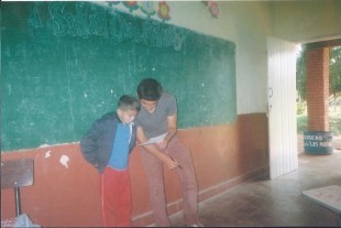 Shemtov teaches English at his local village school in Paraguay.