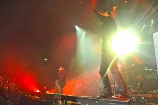 Linkin Park performs to an ecstatic crowd at Shoreline Amphitheater. Originally formed in Agoura Hills, Calif, the rock band is well known for their adapted radio-friendly music and has won two Grammy awards.