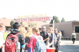 Palo Alto firefighters came to increase student participation in the Palo Alto Fire Department Explorer Program.  The program gives an opportunity for local youth to work with firefighters, emergency medical technicians and paramedics to learn how to give CPR and other emergency medical support, as well as respond to real emergencies with firefighters and paramedics.