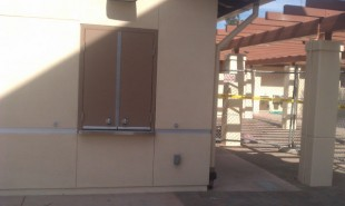 Tickets will be sold from this window in the new snack shack building under the archway. Administrators are looking to put in a second ticket booth on the opposite side of the arch sometime in the future.