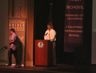 U.S. Secretary of Education Arne Duncan addresses a crowd at Sequoia High School, kick-starting the Educational Tour Bus.