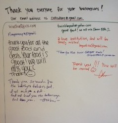 This board in the Korean Barbeque shows a glimpse of the customer appreciation and feedback that the restaurant recieved.