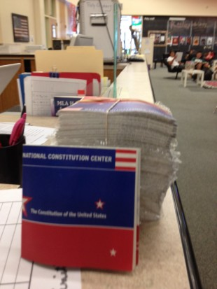 The library will be passing out pocket Constitutions to the first 40 students on Monday, Sept. 17 in honor of Constitution Day. [Photo Credit: Addie McNamara]