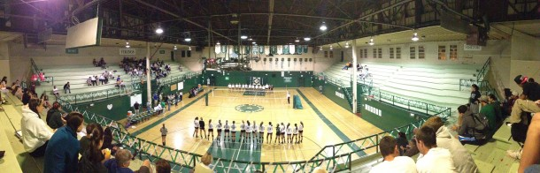 The teams lined up on Senior Night as the lineups were announced. The Vikings went on to lose to Los Gatos in 5 sets.