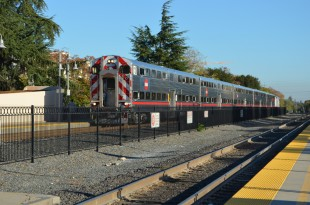 The demonstration was held on a Caltrain train line, going from San Jose to Gilroy on yesterday. Photo by Cathy Rong.