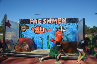 The freshman present their very first Spirit Float. [Photo: Cathy Rong]