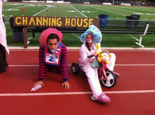 The two freshmen nominees for best dressed emulate babies for generation day. Photo by Paige Esterly.