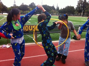 Freshman compete in the hula hoop competition, finishing in last place. Photo by Paige Esterly.