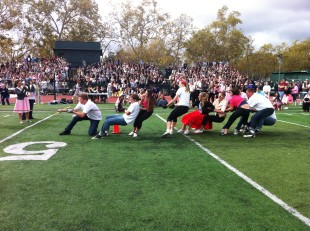 The sophomores struggle against the seniors in the tug-of-war battle. The sophomores placed last overall. Photo by Paige Esterly.