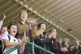 Sophomores, dressed up as greasers, are excited after they scored their first hoop. [Photo: Amanda Carlsson]