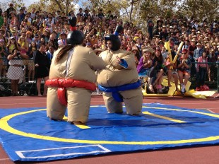 Senior Annie Susco faces off against a freshmen in sumo-wrestling on day two of Spirit Week at the football field at lunch.  Susco would win the round.  Photo by Jared Schwartz.