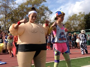 Two freshmen show off for the judges as the best dressed for &quot;healthy choice&quot; salad dressing.  The freshmen will dress in orange tomorrow.  Photo by Jared Schwartz.