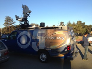 A news truck from CBS 5 Eyewitness News is in the parking lot today while a camera crew films for an upcoming segment about Paly as a 'Cool School'.