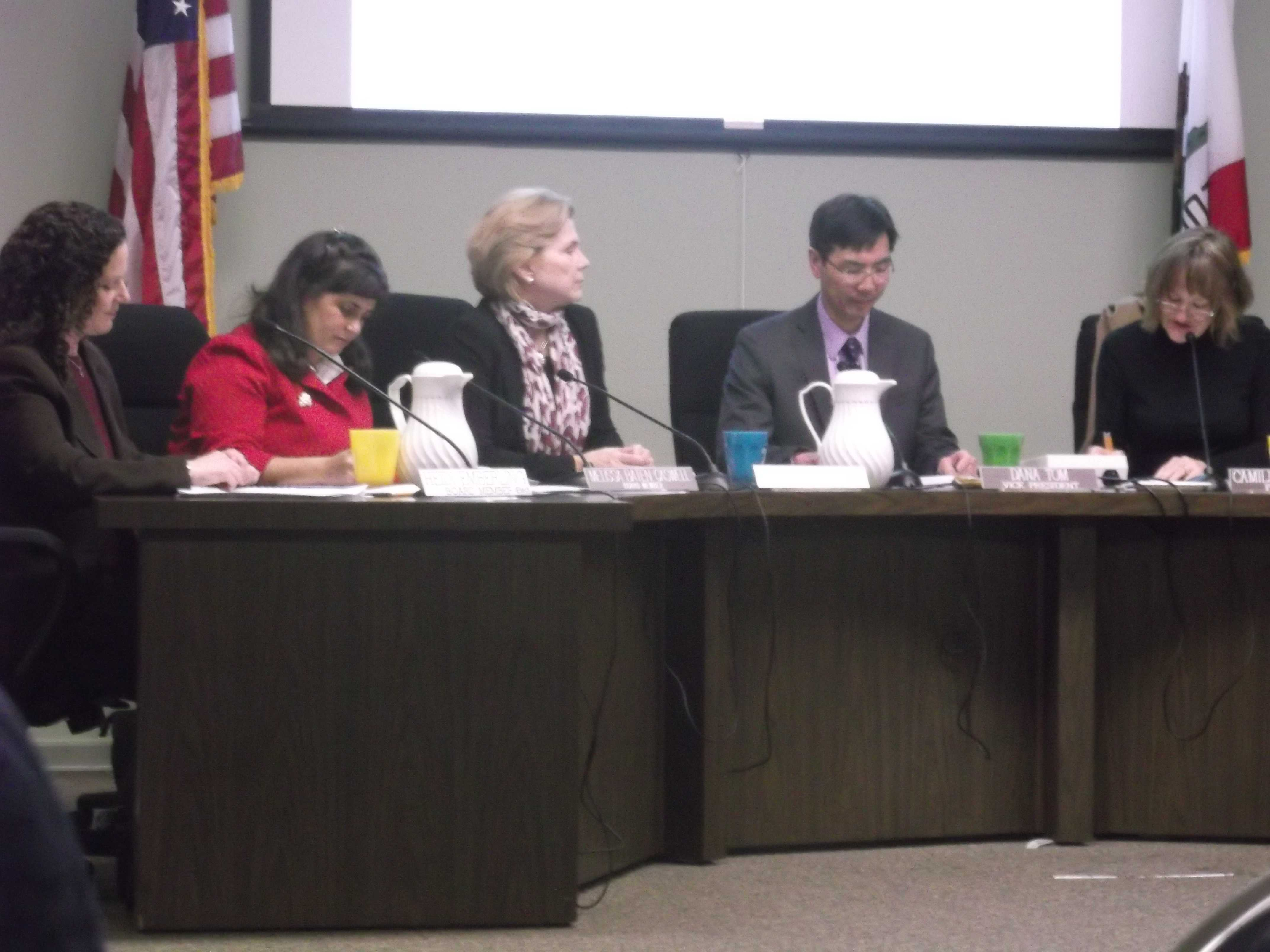 School board members discuss the new strategic plan. [Photo by David Raftrey]