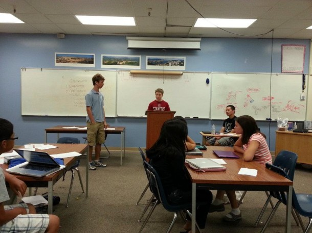 A student speaks in front of a class at Palo Alto Speech and Debate Camp. Photo by Julia Lee.