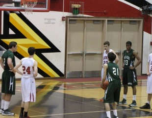 Senior guard Eilon Tzur prepares to shoot a free throw in last night's game against the Titans. Tzur finished with 10 points and three assists in the game. The Vikings look complete a perfect  league season as they take on the Milpitas Trojans (12-10, 6-4) 7:30 p.m. next Friday at Milpitas High School.