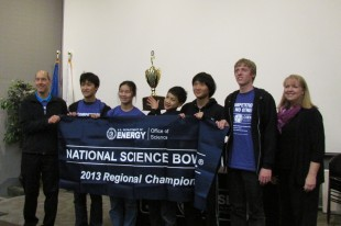 "The Palo Alto High School Science Bowl team displays its trophy after winning the regional Science Bowl competition on Saturday, Feb. 2, at Lawrence Berkeley National Lab. This is the first time in seven years that Paly's team is going to the national competition. ""We're really solid, but we need to get even better,"" team captain Jeffrey Ling said."