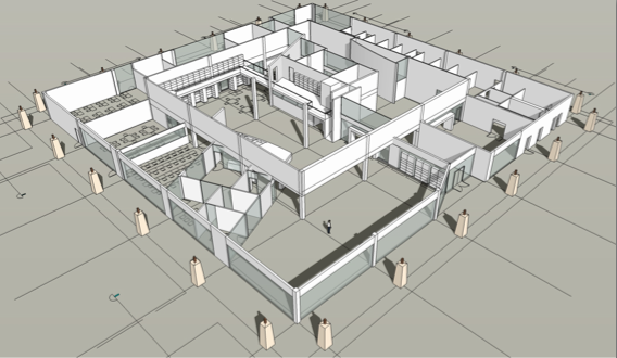 The library depicted in an early stage conceptual design. The floor plan of the building is designed to more efficiently use space, with busier sections in the front and quieter study rooms in the back. Photo by DLM Architecture