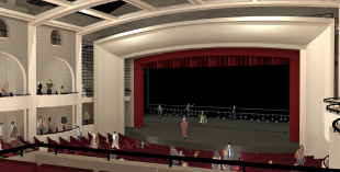 An computer drawing shows the interior of the future theater. [Photo by David Raftrey]