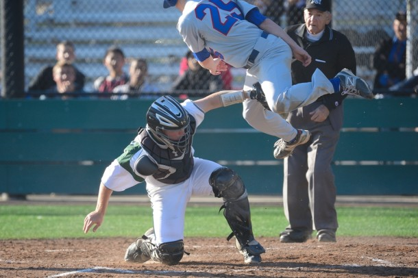 Junior catcher Austin Krohn tags out a St. Ignacius player ay home plate in Paly&#039;s 9-3 loss to the Wildcats Wednesday afternoon.  Photo by Matt Ersted.