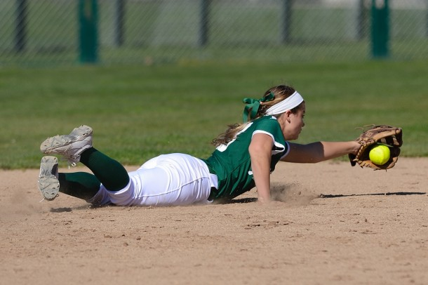 Junior shortstop Hannah Bundy dives to her left to field a sharp ground ball during the third inning of Paly&#039;s loss to Leland High School Saturday.  Photo by Matt Ersted.
