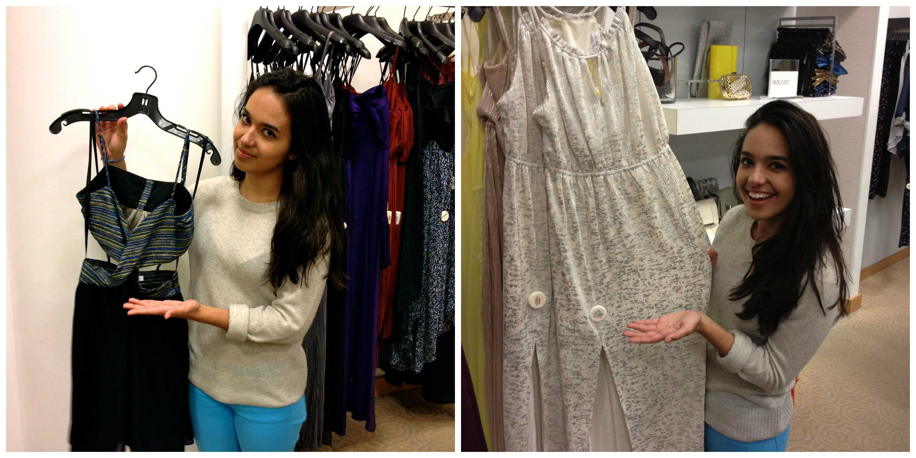 Here is Kate Marinkovich holding two very different dresses. Can you guess which one is not appropriate for Prom? Photos by Spencer Carlson. 