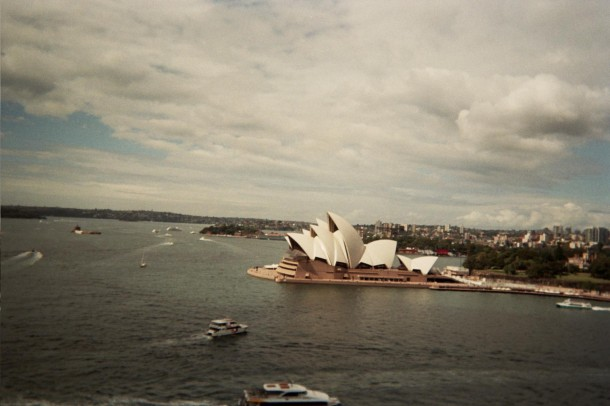 The Sydney Opera House is the classic symbol that comes to mind when Australia is mentioned.  Photo taken with a disposable film camera by Cathy Rong