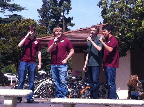 "The Heartbreakers, Paly's only all-male a capella group, performed both ""Uptown Girl"" and Paly's rousing fight song ""Green and White Forever."" Photo by Paige Esterly."