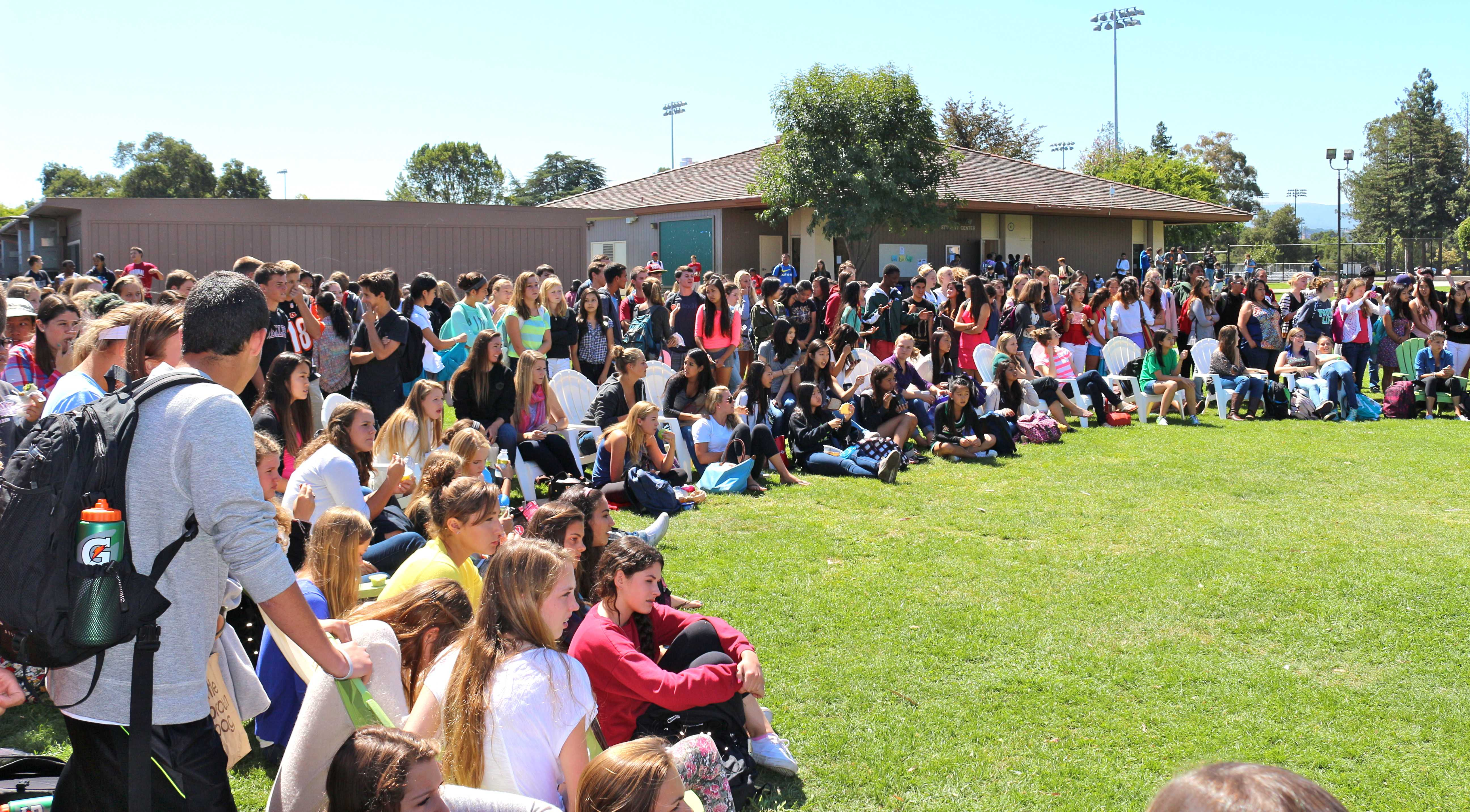 A full array of students gathers to watch the festivities. Photo by Frankie Comey