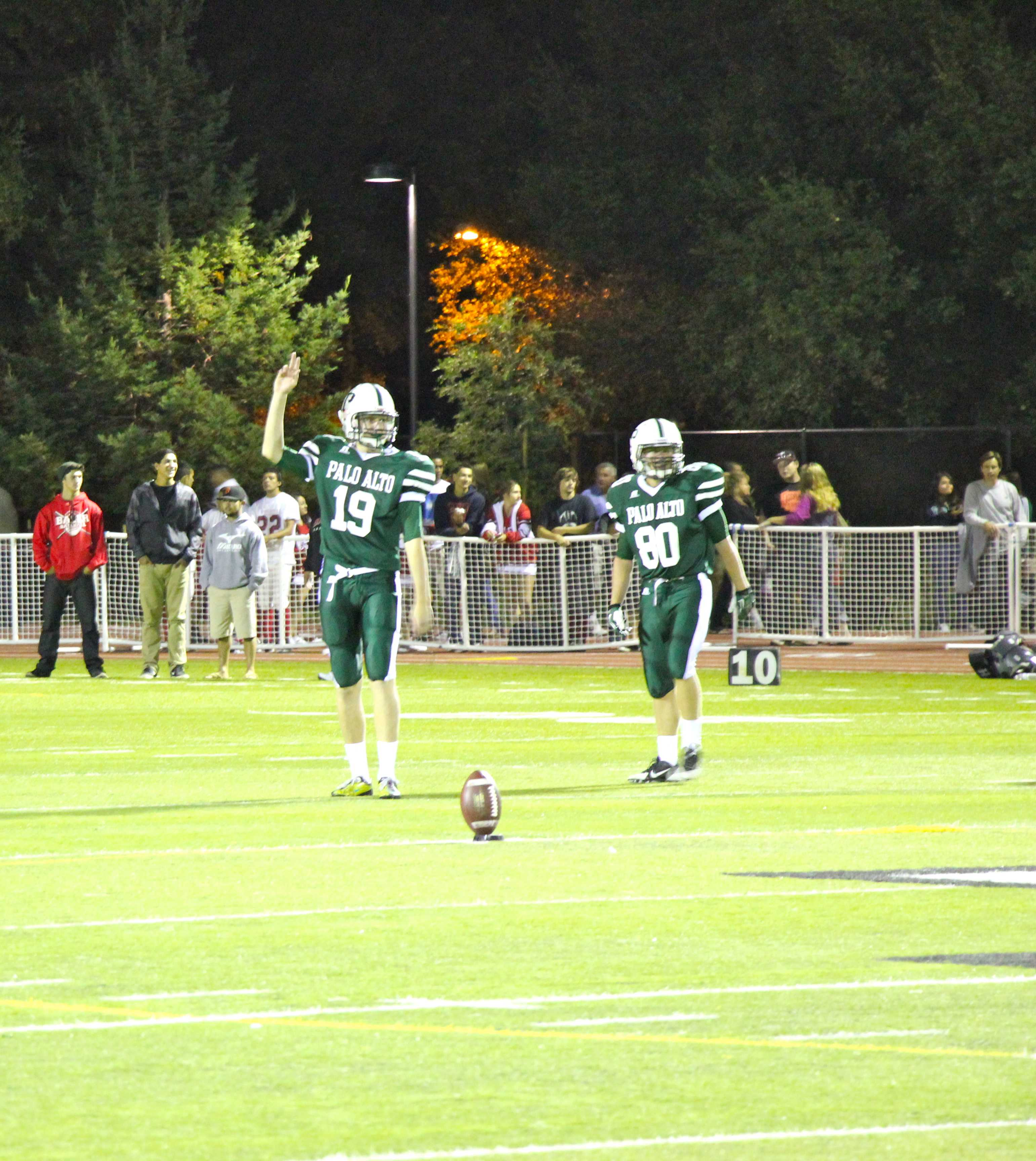 Senior kicker Matthew Fogarty lines up for the kickoff after halftime. Photo by Scott Andrews