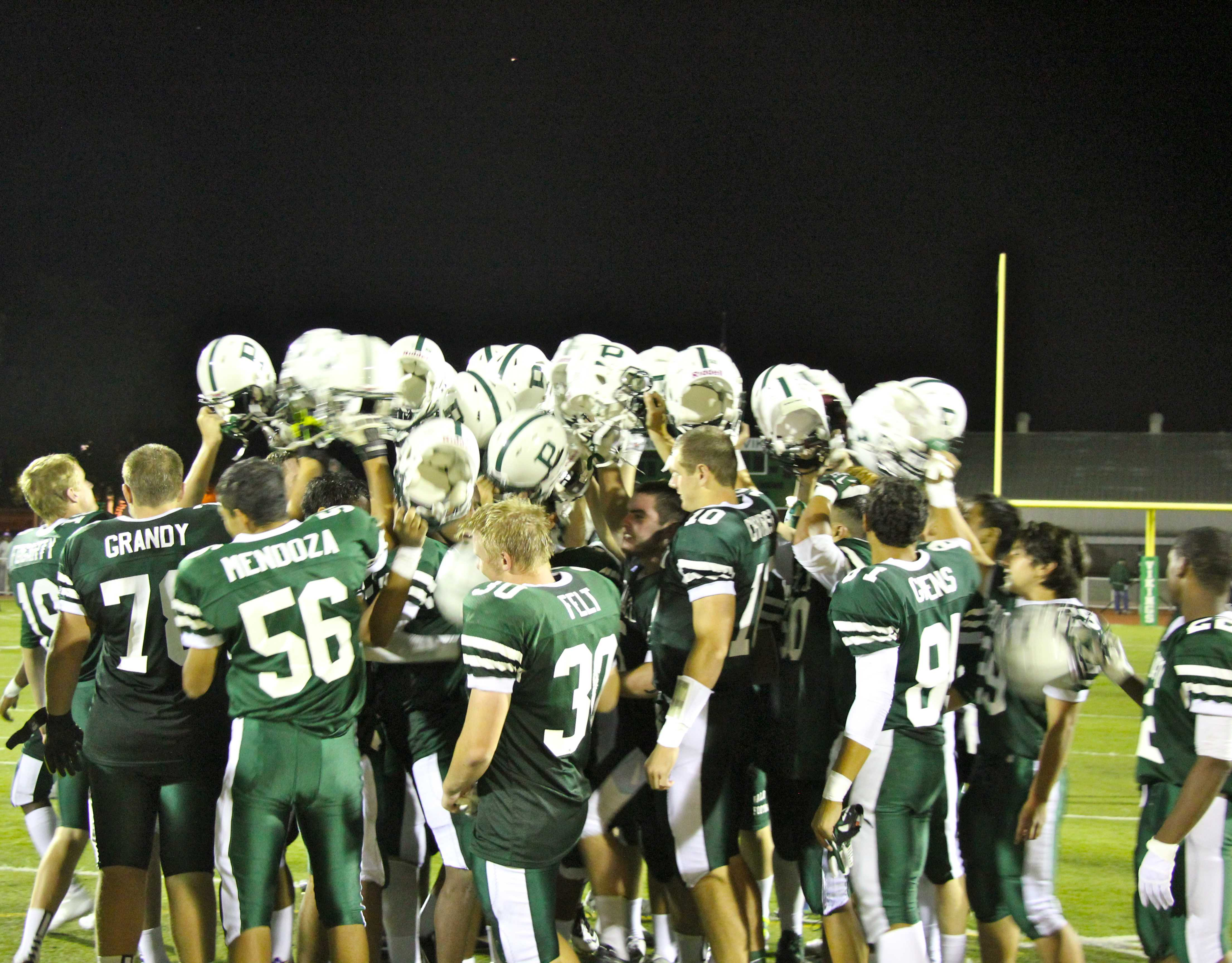The Vikings meet in the middle of the field after defeating San Benito by a score of 28 to 7.Photo by Scott Andrews