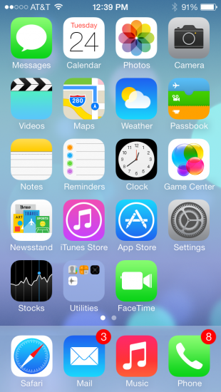 Photo by Liana Pickrell. A screenshot of the new homescreen layout for iOS  7.