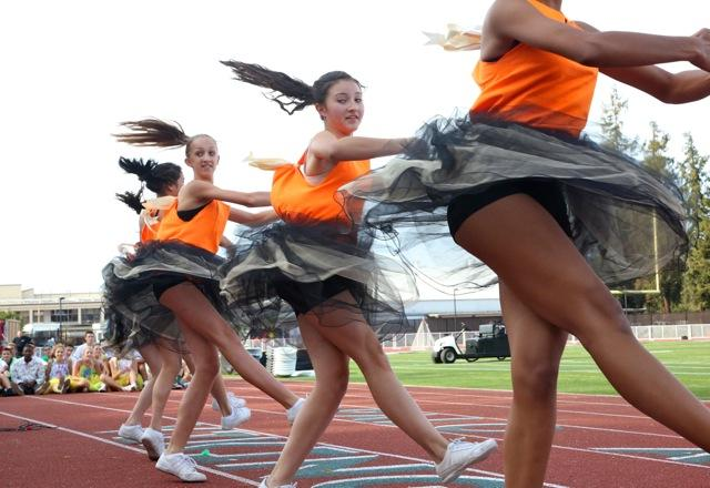Freshman girls participating in the spirit dance. Photo by Cathy Rong.