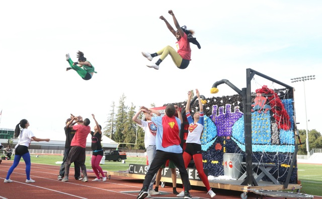 Sophomores superheros caught in mid-air. Photo by Cathy Rong.