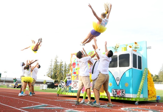 "Juniors dance around their float, themed after 'Yellow Submarine."" Photo by Cathy Rong."