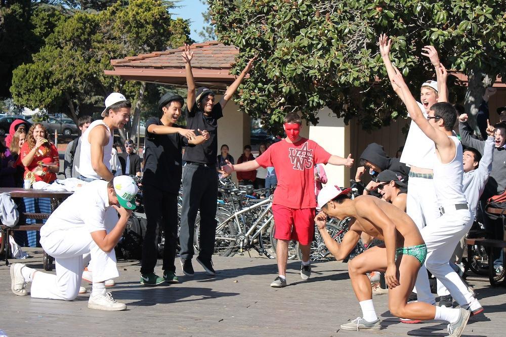 Seniors perform an 'N Sync-Backstreet Boys medley for the group Halloween costume contest.