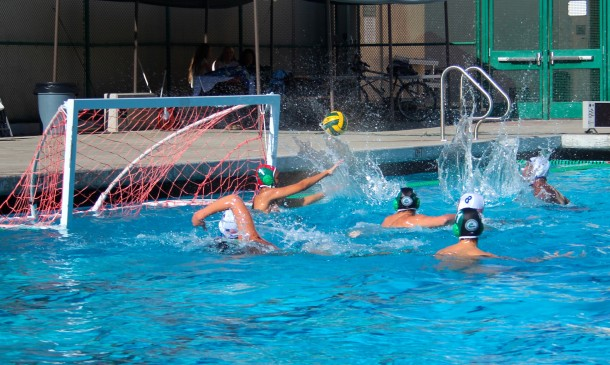 Senior goalkeeper Jake Weinstein blocks a shot from Los Altos offensive. Weinstein only let 5 goals in throughout the game. Vikings defeated the Eagles, 9-5. Photo by Molly Fogarty