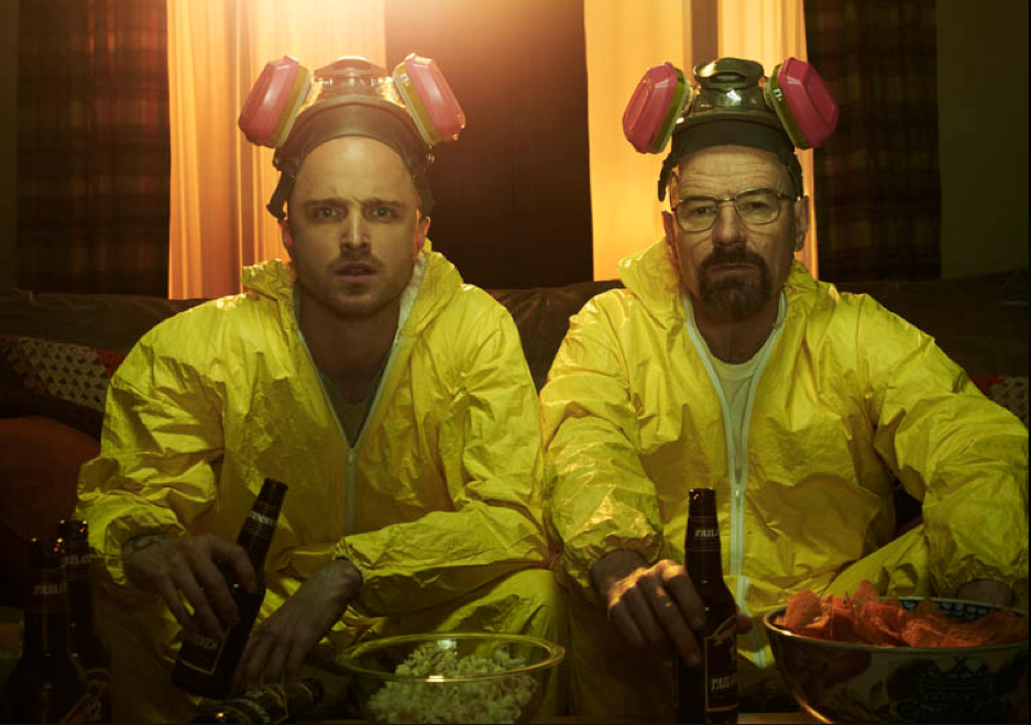 "Jesse Pinkman, played by Aaron Paul, and Walter White, played by Bryan Cranston, take a break from cooking meth to relax in front of the TV. The duo has been taking Albuquerque and Cable Television by storm since 2008. Jesse and Walt probably mirror how excited fans of ""Breaking Bad"" looked while watching the series finale.  Courtesy of AMC."