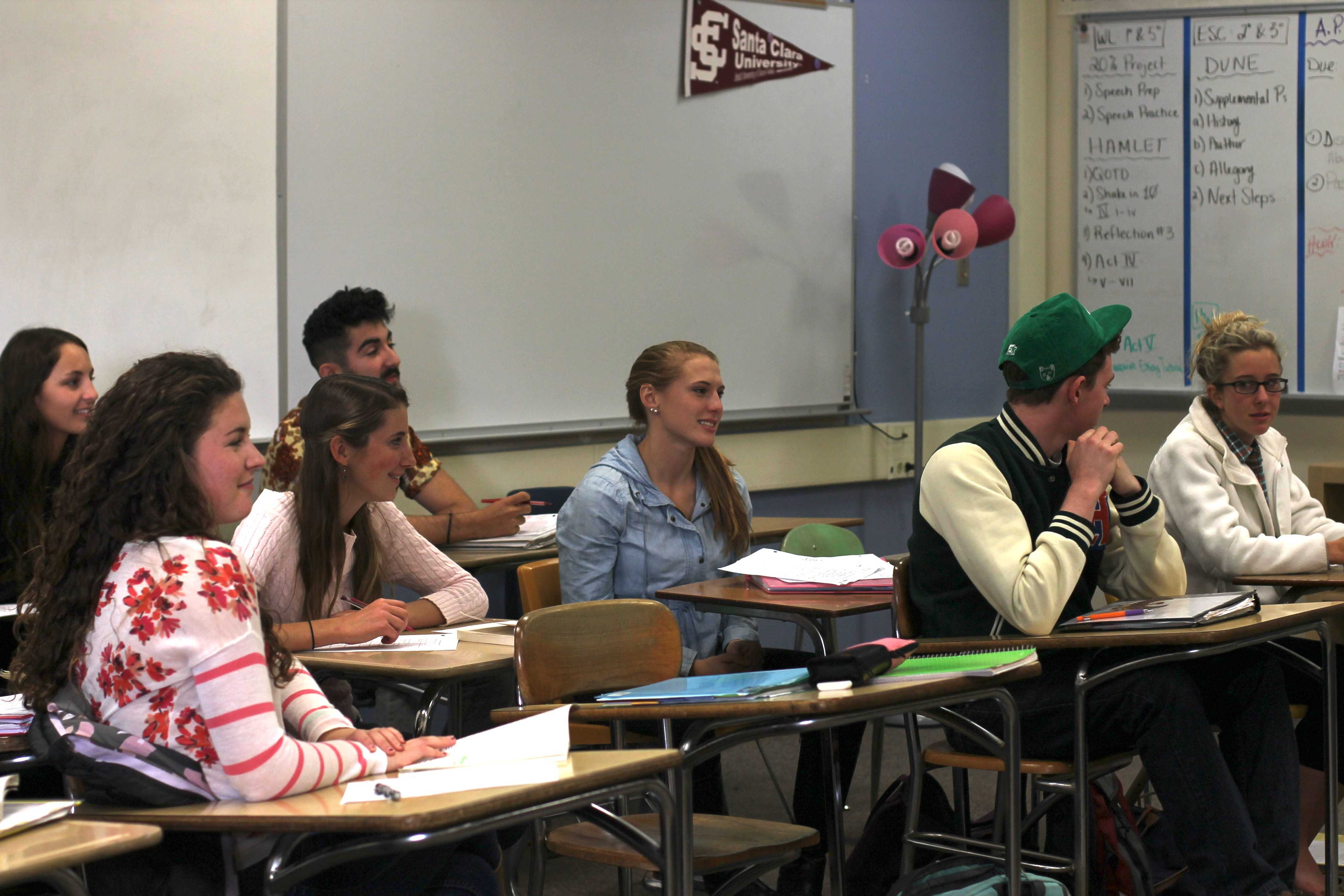 Seniors discuss a novel in Palo Alto High School's AP English Literature class. AP English has about twice as many females as males; many other AP and advanced classes show similar or opposite gender differences.
