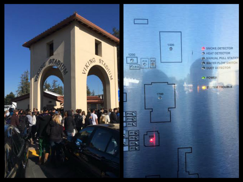 Left: Paly students enter the Viking Stadium football field after an alarm went off during fifth period. Right: Paly's alarm system map inaccurately displays that a smoke alarm went off in the 600s building when it actually was triggered in the Tower Building, as explained by Assistant Principal Jerry Berkson. Photos by Emma Chiu.