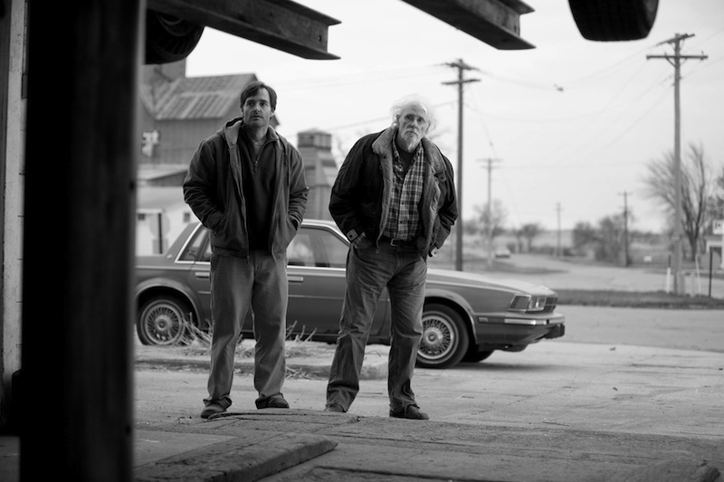"David Grant (Will Forte), left, helps his elderly father Woody Grant (Bruce Dern) pursue a dubious fortune in ""Nebraska."""