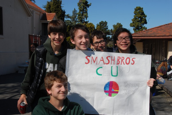 Sophomores Andrew Baer, Andy Kotik, Joshua Chang, Matteo Leva and Drew Embersits are part of the Smashbros Club. Photo by Liana Pickrell.