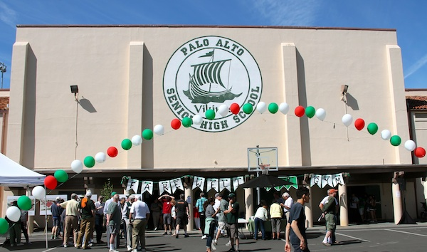 The Palo Alto High School Big Gym is decorated to celebrate 85 years of use. It will be demolished after the school year ends. Photo by Maddy Jones.