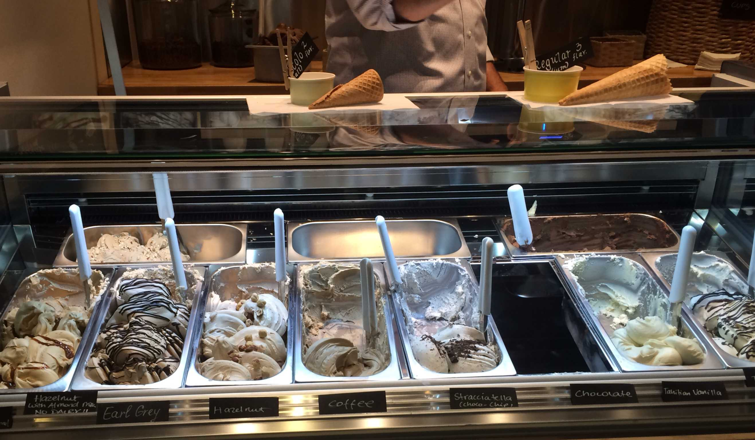 Gelataio displays its various offerings of gelato flavors at the front of the store. Photo by Maddy Jones.