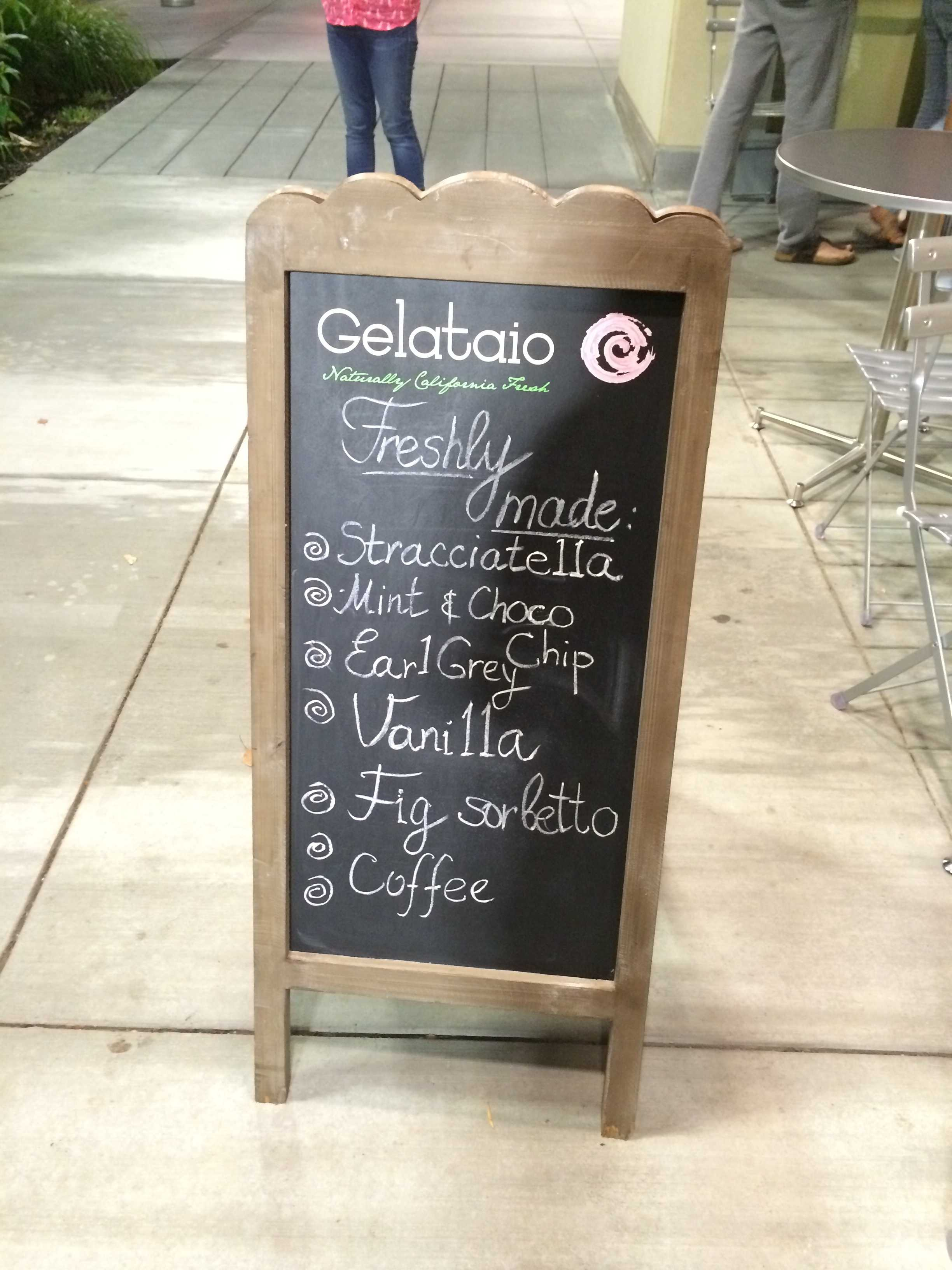 "The sign outside of Gelataio advertising freshly made flavors. The sign also displays its slogan: ""Naturally California Fresh."" Photo by Maddy Jones."