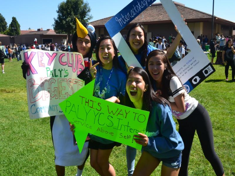Juniors Joseph Kao, Michelle Li, Jessica Cheng, Stephanie Cong and Carissa Zhou (left to right) want people to sign up for Key Club and YCS-Interact. Photo by Josh Yuen.
