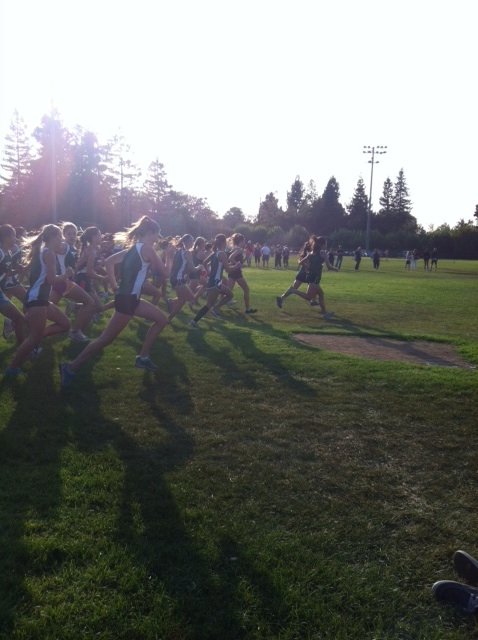 Girls' cross country takes off at the Santa Clara meet last season. Photo courtesy of Ami Drez.