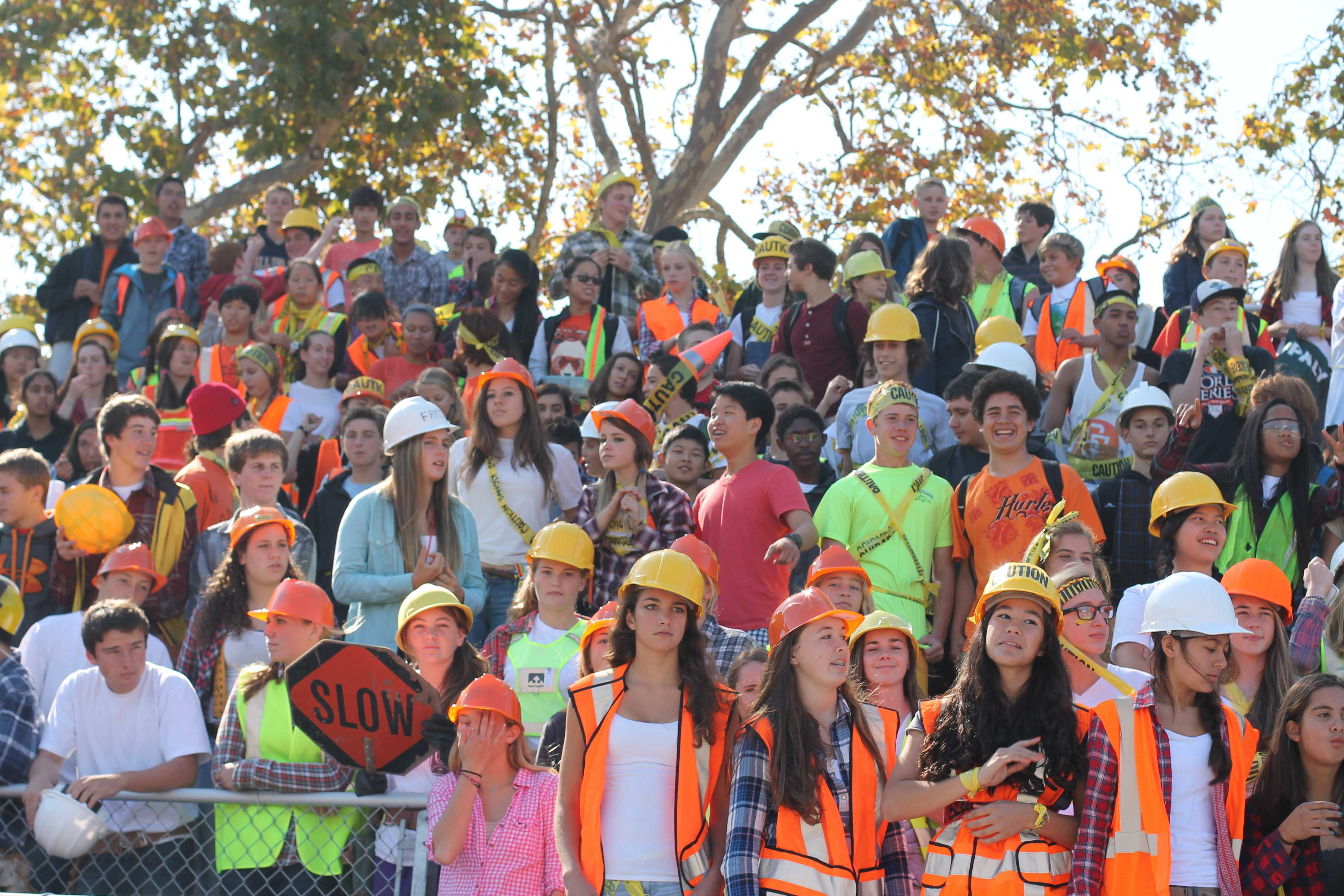 "Freshmen dress according to their theme ""Warning/Under Construction"" during Spirit Week 2013. Photo by Molly Fogarty and Cathy Rong."