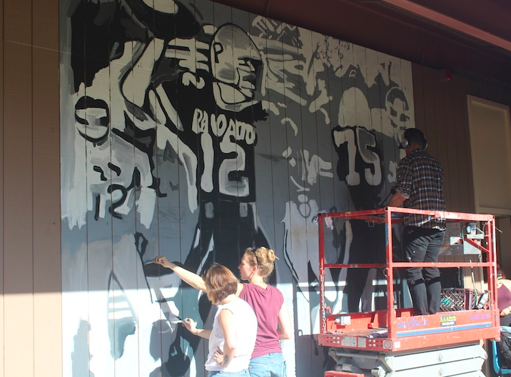 Paly alumnus James Franco paints two murals at Palo Alto High School.